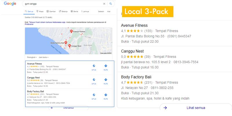 Local 3 Pack  - Optimasi Google MyBusiness