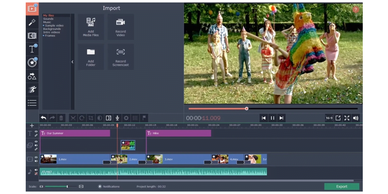 Movavi video editing software