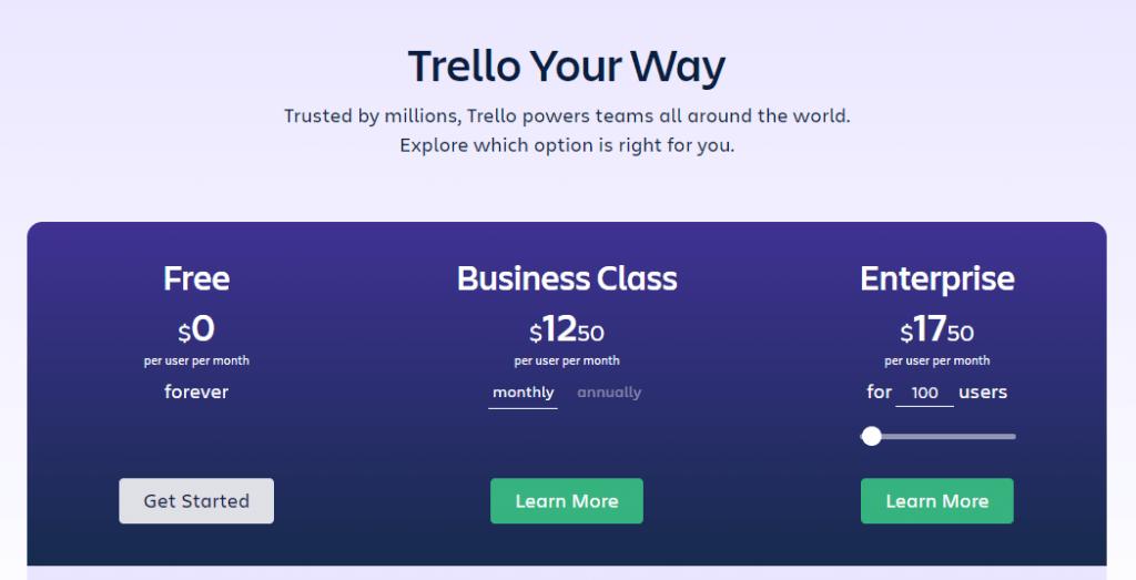 Harga berlangganan Trello