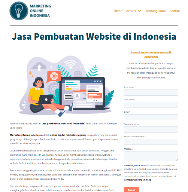 Landing page Jasa Pembuatan Website MarketingOnline.id