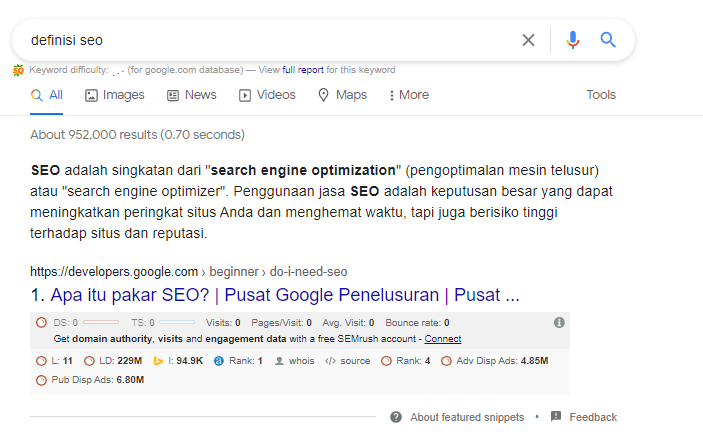 Featured snippet - definisi seo