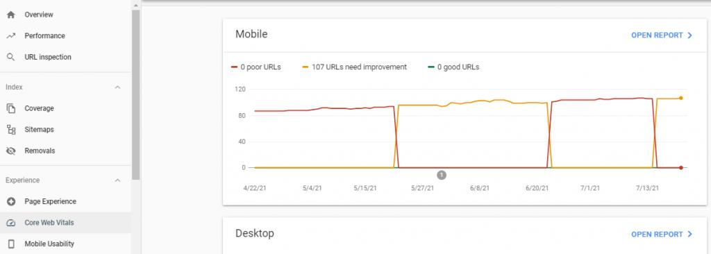 Tampilan core vital web yang memiliki url yang perlu ditingkatkan
